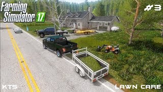 Mowing lawn and transporting grass | Lawn Care | Farming Simulator 2017 | Episode 3