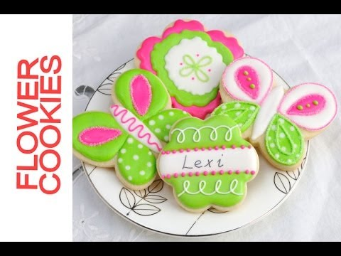 Pretty Lime Green and Hot Pink Flower Cookies Tutorial, Decorating ...