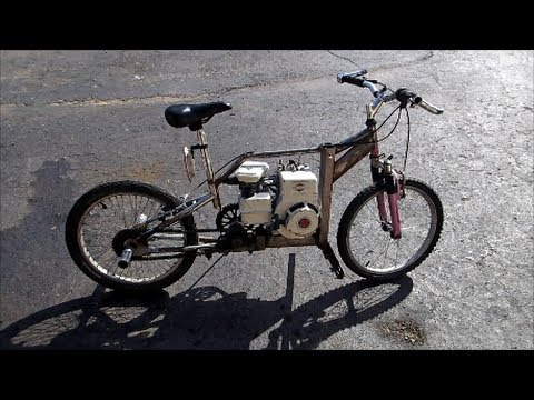 homemade gas powered bike rebuild and test drive