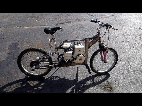 homemade gas powered bike rebuild and test drive
