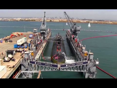 Nuclear Submarine Dry Docks Inside Floating Dry Dock - Time-lapse Video