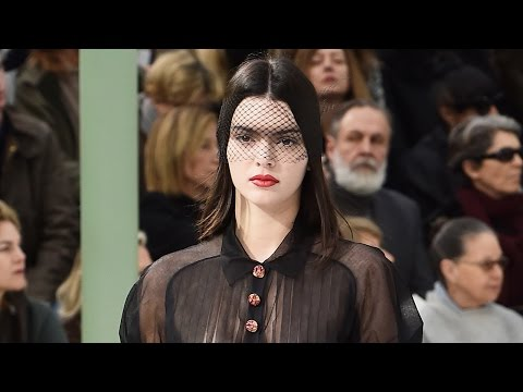 Kendall Jenner Braless SHEER Top at Paris Fashion Week 2015