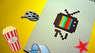 Рисуем по клеточкам -ТЕЛЕВИЗОР (TV)!