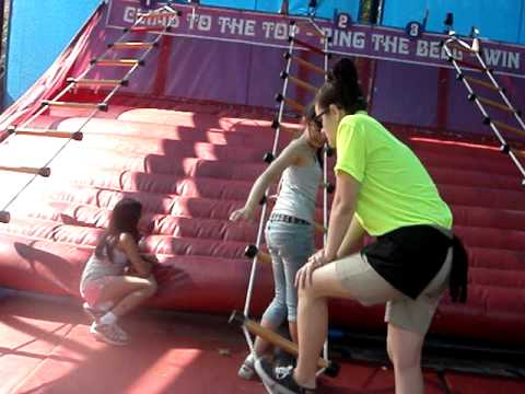 Daughter & Friend Horizontal Rope Ladder Climbing - Pt. 3