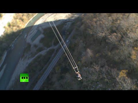 Sochi Vertigo: Extreme flight over 500m ravine on world's highest swing
