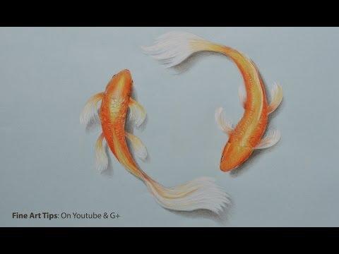 How to Draw Koi Fish With Color Pencils - Как нарисовать рыбку Кои цветными карандашами