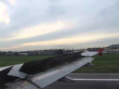 Air Asia Landing Penang International Airport 22 September 2013