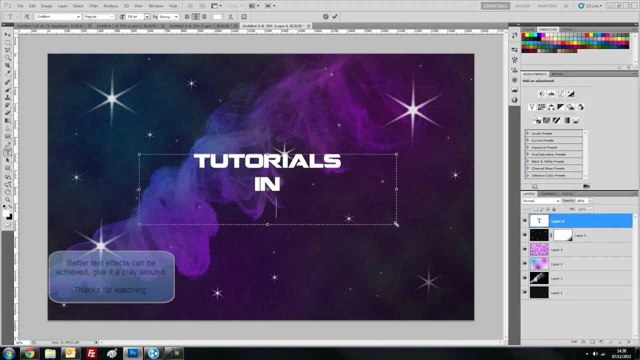 Tutorial 7 creating a galaxy space background theme in for Space tutorial
