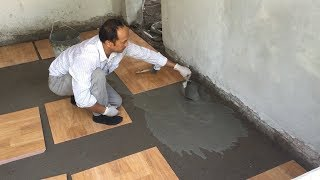 Building Bedroom With Ceramic Tiles  Wooden Imitation - 50x50cm Polished Tiles, Install Process