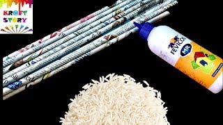 Amazing DIY using waste newspaper and broken rice | Best out of waste