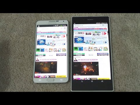 SAMSUNG GALAXY NOTE 3 VS SONY XPERIA Z ULTRA BROWSING SPEED COMPARISON