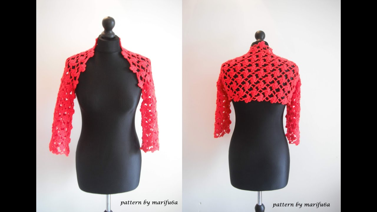 Shrug Knitting Patterns For Beginners : how to crochet flower red bolero shrug for beginners free pattern tutorial by...