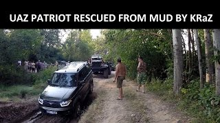 UAZ Patriot and KrAZ - Rescued from mud