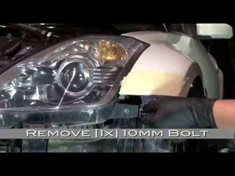 Spyder Auto Installation: 350Z LED DRL Headlights (HID Version) + Bumper Removal
