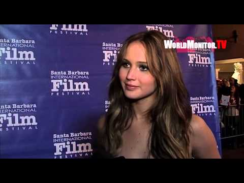 Jennifer Lawrence so gorgeous being interviewed and loves her fans at SBIFF 2013
