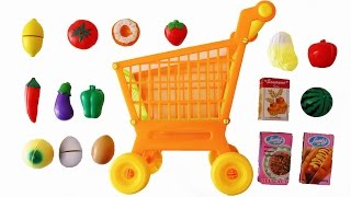 Toy Cutting Velcro Fruit Vegetables Shopping Trolley Kart Basket Groceries