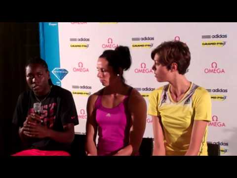 Blanka Vlašić, Brittney Reese and Jenn Suhr prior to 2013 adidas Grand Prix