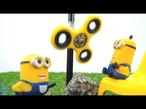 Миньоны! Игрушки для детей и видео спиннер! #Миньоны нашли, что делать со спиннером! #мультигрушки!