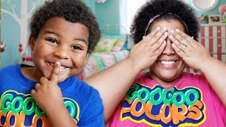 GOO GOO GAGA AND MOM PLAY HIDE N SEEK WITH MAGIC CLOAK!