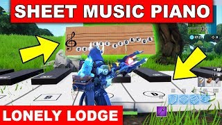 """""""Play the Sheet Music on the Pianos near Lonely Lodge"""" LOCATION WEEK 2 CHALLENGE Fortnite Season 7"""