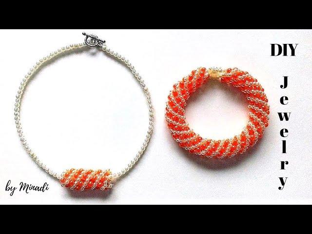 Russian spiral bracelet. Diy necklace +bracelet. Beading tutorial( spiral method)