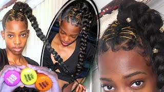 Protective Style | Jumbo Braid Ponytail using 1st Touchdown Edge Tamer | BEST Edge Control