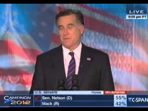 US Election 2012  MITT ROMNEY Concession Speech After Defeat - Congratulates President