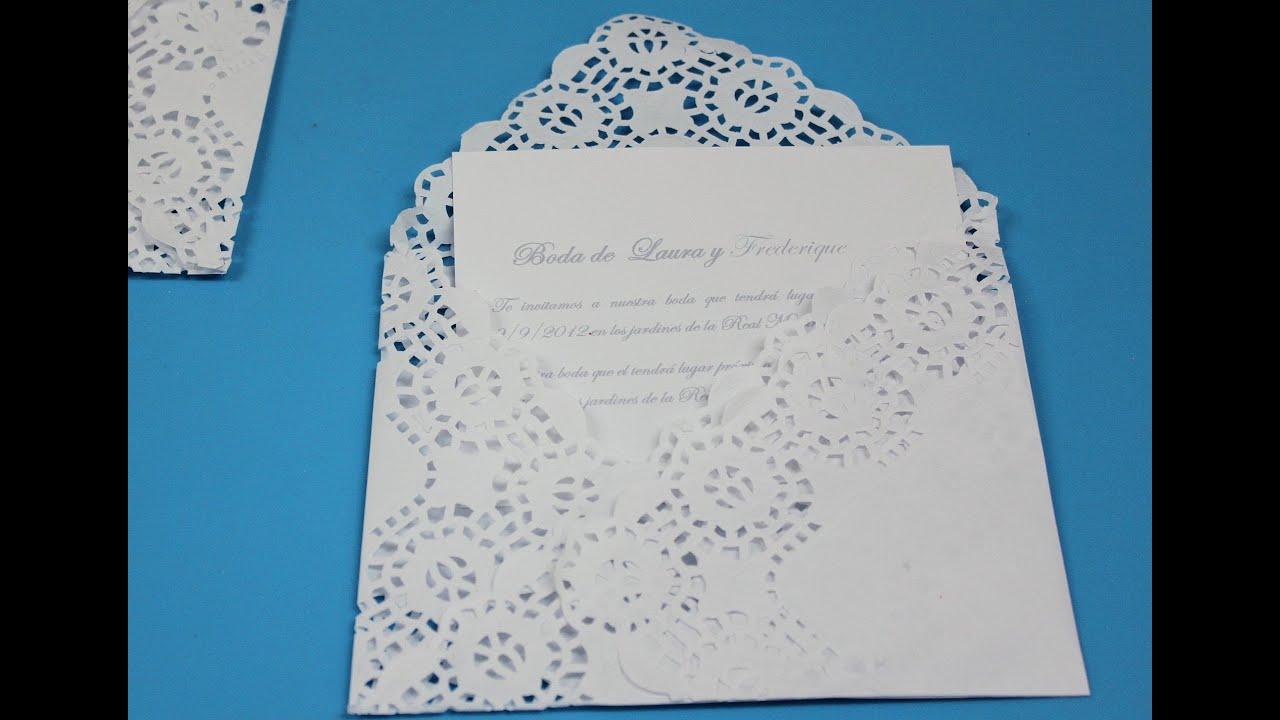 Invitacion elegante doily envelope youtube - Ideas para hacer manteles ...