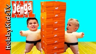 World's BIGGEST JENGA Surprise Egg! Sumo Suits + Family Fun Toys Review by HobbyKidsTV