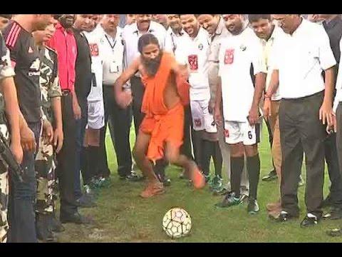 Baba Ramdev promotes football for PM Narendra Modi's Swachh Bharat Abhiyan