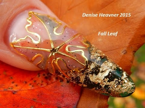 GOLD GLITTERY Fall Leaf Nails -------------------GEL NAIL TUTORIAL