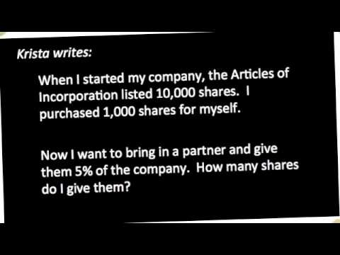 How to calculate shares for a new business partner - Authorized vs Outstanding Shares