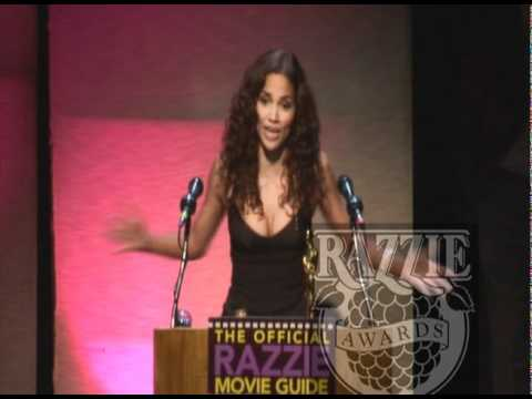 Halle Berry accepting her Rassie for Worst Actress in Catwomen is just golden