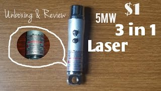 INSANE $1 5mw 3 IN 1 Laser Pointer + UV Torch [Review & Unboxing] [Laser Burning Test]