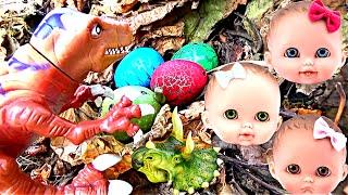 ❤ Куклы Пупсики играют Яйца динозавров игрушки Битва динозавров мультфильм Видео игры для девочек