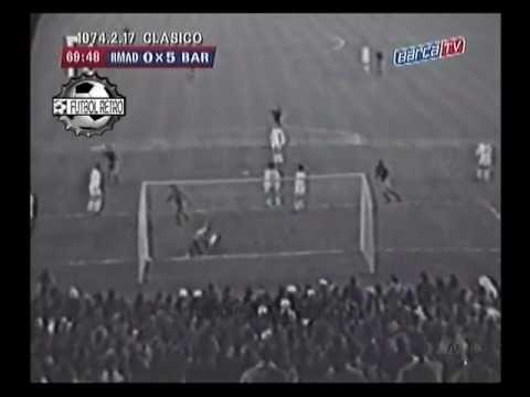 Real Madrid 0 vs Barcelona 5 Liga 1973/74 Show de Johan Cruyff FUTBOL RETRO TV