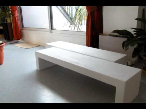 Table basse en b ton youtube for Table exterieur palette