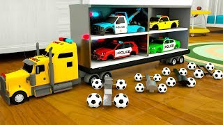 Dump Truck Assembly Police Cars Tires with Surprise Soccer Balls, Street Vehicles Video
