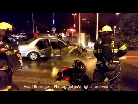 נתניה: רוכב אופנוע נפצע קשה בתאונת דרכים בין רכב פרטי לרוכב אופנוע ברחוב שלום עליכם בנתניה,