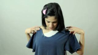 How to Make a Open Shoulder Top Out of a T-Shirt