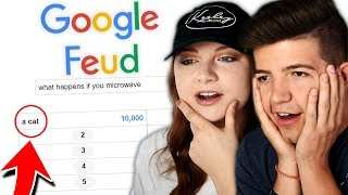 MICROWAVING A CAT?... (Google Feud with Keeley my sister!)