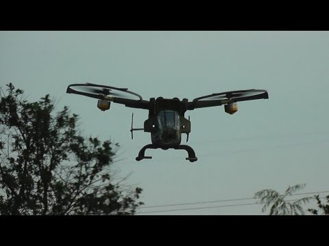 Pandora Warrior RC Gunship helicopter Outdoor flight with Crash