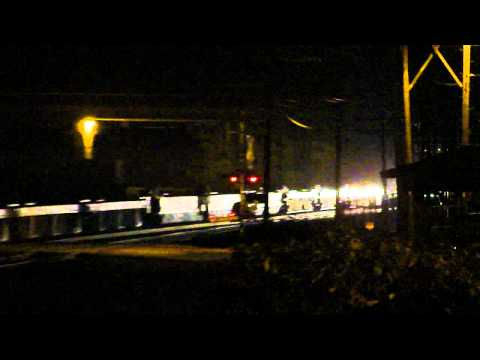 Two Union Pacific trains in the dark