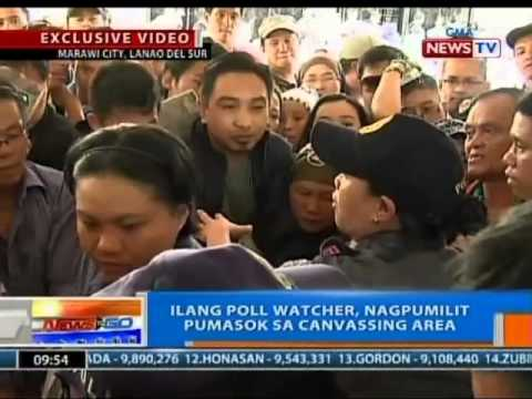 NTG: Ilang poll watcher, nagpumilit pumasok sa canvassing area (Marawi City, Lanado del Sur)