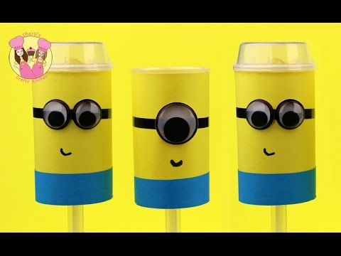 MINIONS PUSH POPS Or Cake Shooters How To Craft Or Baking  By Charli's Crafty Kitchen Despicable Me