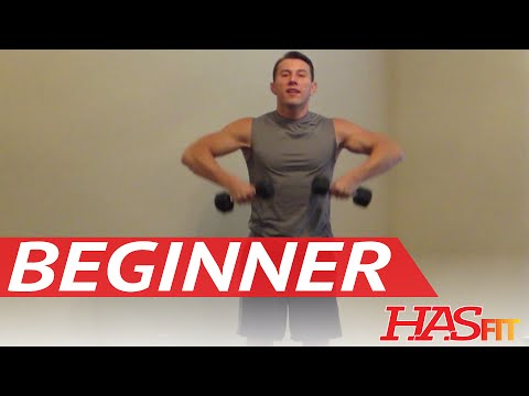 15 Minute Beginner Weight Training - Easy Exercises - HASfit Beginners Workout Routine - Strength Image 1