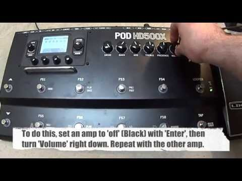 Line 6 HD500/HD500X Tutorial - 2 amplifier rock rig with an A/B amp switcher and wah/volume thumbnail