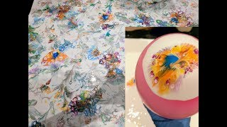 EASY DIY - Delicate Flowers -  Balloon dip technique - acrylic pour abstract painting, glue recipe