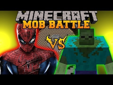 MUTANT ZOMBIE VS SPIDERMAN - Minecraft Mod Battle - Mob Battles - Superheroes an