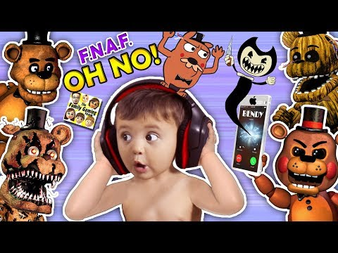 OH NO! BA Shawn vs FIVE NIGHTS at FREDDYS 1,2, & 4 + He Calls BENDY & the INK MACHINE FGTEEV